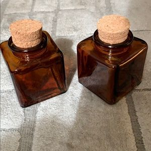 Set of 2 Small Brown Glass Jars w/Cork Stoppers